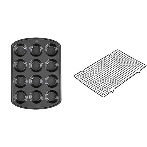 Wilton Perfect Results Premium Non-Stick Bakeware Muffin and Cupcake Pan, 12-Cup, STANDARD, Silver & Industries Perfect Results Mega Cooling Rack, Black