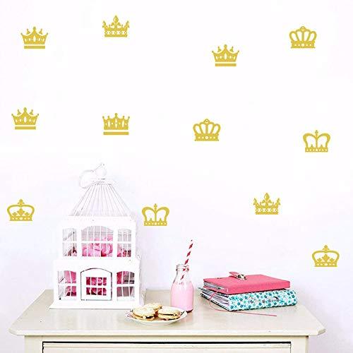 TFOOD muurstickers, geel Crown Princess patroon kunst zelfklevend PVC muur geschikt voor slaapkamer woonkamer kinderkamer DIY decoratie