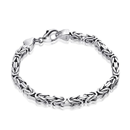 MATERIA Königskette Silber Herren Armband 21cm 5,4mm 31,5g diamantiert rhodiniert SA-10-21 cm