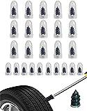 Pipihome 25pcs clavos de goma para reparación de neumáticos sin cámara, Clavo de reparación de neumáticos al vacío, kit de reparación de neumáticos de motocicleta y coche