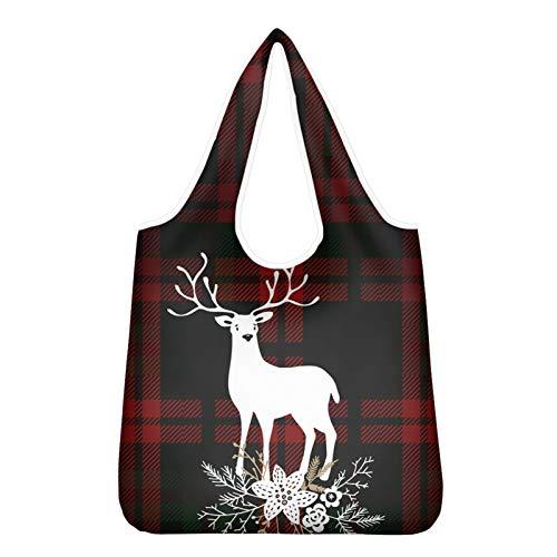 HUGS IDEA Shopping Bag Eco Friendly riutilizzabile sacchetto della spesa con manico rinforzato, fiore di mucca infermiera denti Natale cane, Renna di Natale., X-Large
