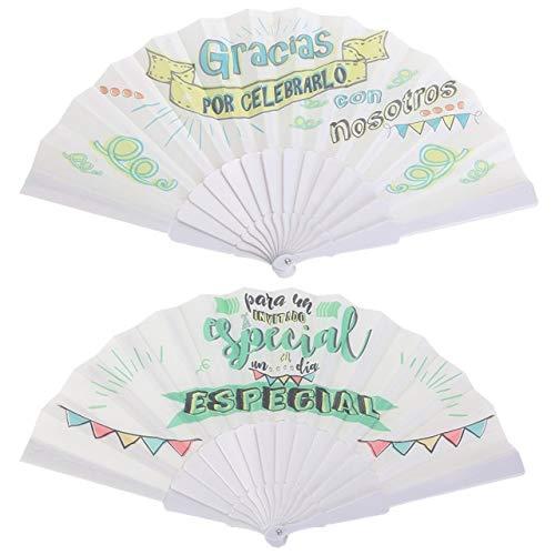 """Lote de 20 Abanicos de Tela""""Frases"""" - Detalles Originales Invitados de Bodas, Regalos Comuniones y Recuerdos para Cumpleaños Infantiles"""