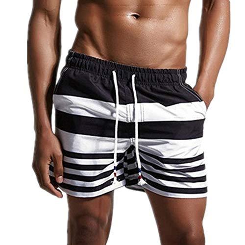 N\P Pantalones de playa de los hombres sueltos de secado rápido pantalones cortos de verano de surf pantalones de los hombres a rayas ropa interior