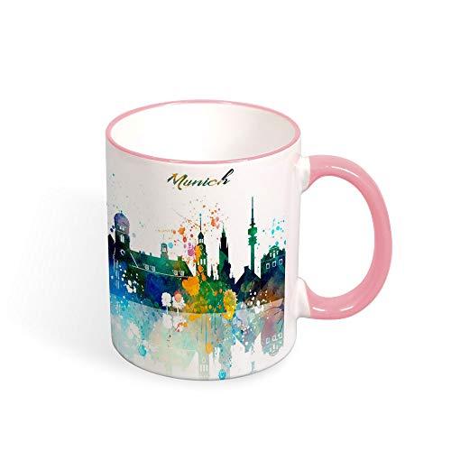 Taza de té de Munich, con diseño de la ciudad de Alemania, taza de diseño verde, barra de estar, regalo de viaje, restaurante café, taza de 325 ml rosa