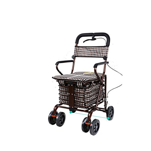 Guo shop- Der ältere Hand-LKW-Einkaufswagen-kreative Handbremse wenig ziehen die Auto-Laufkatze kann schieben, um faltbaren Walker vier Einkaufsroller älteren Rest-Autos zu sitzen Standard Walkers Wal