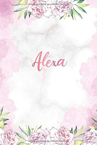 Alexa: Personalisiertes Notizbuch im Blumen Design Tagebuch Dankebuch Notizheft Journal. Individuelles & Einzigartiges Geschenk für Frauen & Mädchen