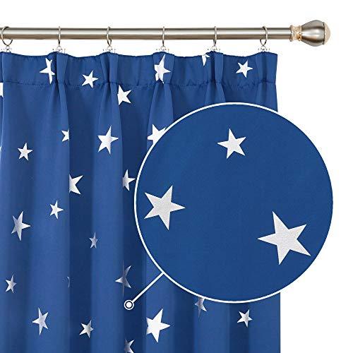 Deconovo Cortina Salón Habitación, con Estrellas Plateadas Térmica Aislante, con Fruncidas, 117x183 cm(Ancho x Alto), Azul Oscuro, 2 Piezas