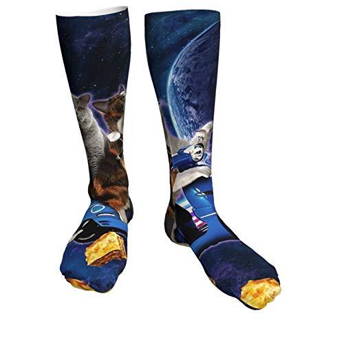 Katzen-Reiter, Roller, Reisen mit Weltraum, Lazer Galaxie, Wintersocken, modisch, weich, warm, gemütlich, lässige Socken