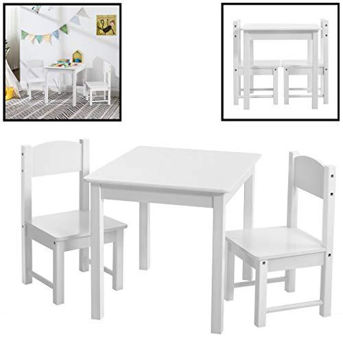 Kindertafel met stoeltjes van hout - 1 tafel en 2 stoelen voor kinderen - Wit - Kleurtafel/speeltafel/knutseltafel/tekentafel/zitgroep set - Decopatent
