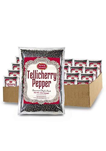 Spicy World Whole Black Peppercorns Tellicherry 16 Oz - Steam Sterilized- Non-GMO Black Pepper - Grinder Refill