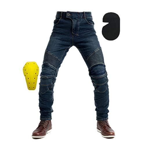 Moto Hommes Jeans - Jeans de Kevlar Moto d'hommes de qualité Premium Straight Fit - Gratuitement protecteurs,Bleu,L