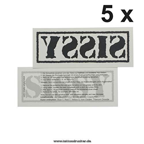 5 x Großes Stempel Sissy Tattoo Schriftzug in schwarz - Sexy Kinky Tattoo (5)