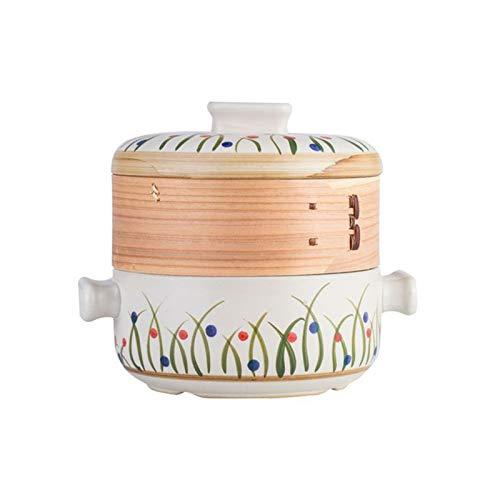 HEMFV Casserole Cookware Japonaise Double-Decker Steamer Cocotte, Open Flame résistant à la Chaleur marmite à Soupe, 2.5L Stew Pot en céramique Ménage (Color : Multi-Colored)