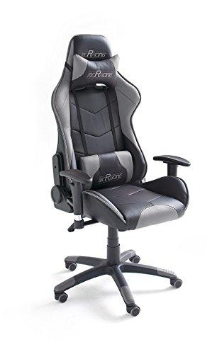 MC Racing Gamingstuhl 6 Schwarz-Grau Schreibtischstuhl höhenverstellbarer Bürostuhl bis 100 Kg belastbar
