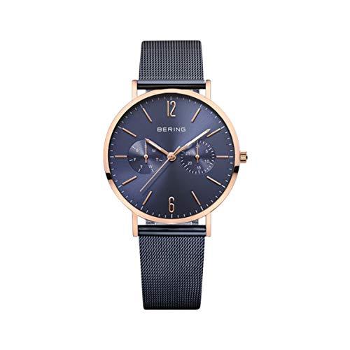 BERING Damen Analog Quarz Classic Collection Armbanduhr mit Edelstahl Armband und Saphirglas 14236-367