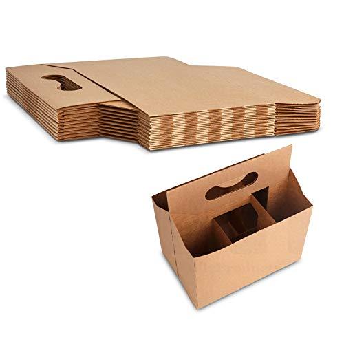 6 Bottle Holder Kraft Cardboard 12 oz. Beer or Soda Bottle Carrier for Safe And Easy Transport, 6 pack carrier by MT Products - (10 Pieces)