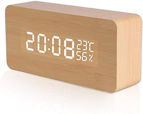 Vegena LED Wecker Digitaler Wecker, Holzimitat Tischuhr mit Sprachsteuerung USB Digitaluhr 3 Stufen einstellbare Helligkeit, Datum, Temperatur und Luftfeuchtigkeit, für Zuhause Schlafzimme (#1)