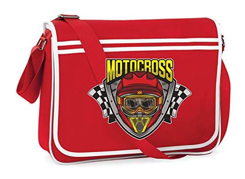Druckerlebnis24 Schultertasche - Motocross Rennen Helm Schädel - Umhängetasche, geeignet für Schule Uni Laptop Arbeit
