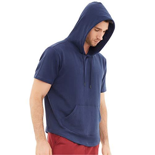 Dubinik - Felpa leggera con cappuccio da uomo, a maniche corte, con tasca a marsupio - blu - X-Large