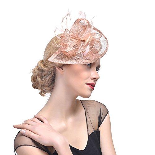 iKulilky Braut Fascinator Blumen Netz Kopfschmuck Damen Haar Clip Britischer Bowler Hut Feder Haarschmuck Kopfbedeckung für Party Kirche Hochzeit Cocktail