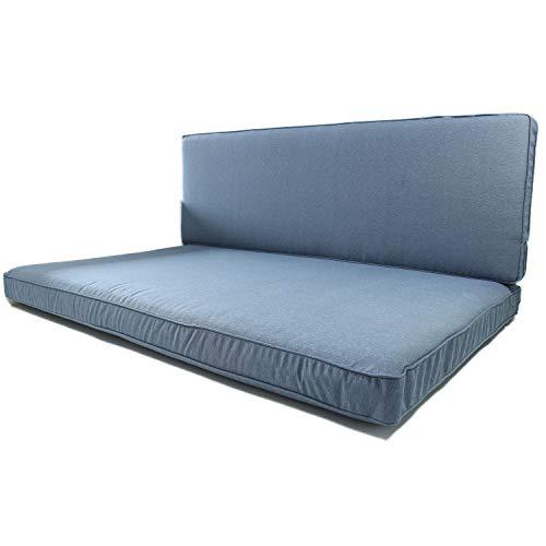 Nordje Palettenkissen Set Comfort bestehend aus Sitzkissen (120 x 80 cm) und Lehne (120 x 40 cm) für Ihre Outdoor Palettenlounge (Blau)