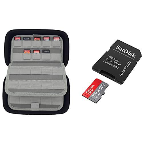GG Acc by GoGik - Carte Micro SDXC Sandisk Ultra 128Go avec étui de rangement 80 cartouches de jeux Nintendo Switch/Lite, PS Vita, SD card, coque de protection optimale de vos jeux et cartes mémoires