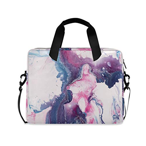 PUXUQU Laptop Bag Blue Marble Pink Abstract Laptop Case for 14-15.6 Inch Computer and Tablet Shoulder Bag Carrying Case for Work Office School