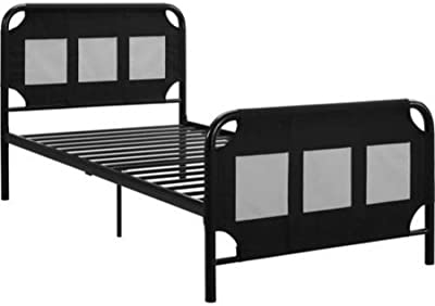 """Contemporary Style Fairview Bed Frame with Storage Twin Size Made w/ Metal in Black Finish 77.5"""" L x 41.5"""" W x 37.5"""" H in."""