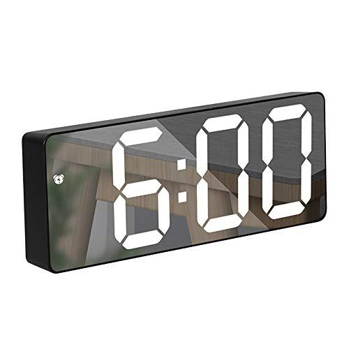 RMFC Wecker Digital, LED Digitaluhr Spiegelalarm Tischuhr Reisewecker mit Snooze, Sprachsteuerung, Temperatur Anzeige, 12/24 Stunden für Schlafzimmer, Büro, Helligkeit Regelbar - Schwarz