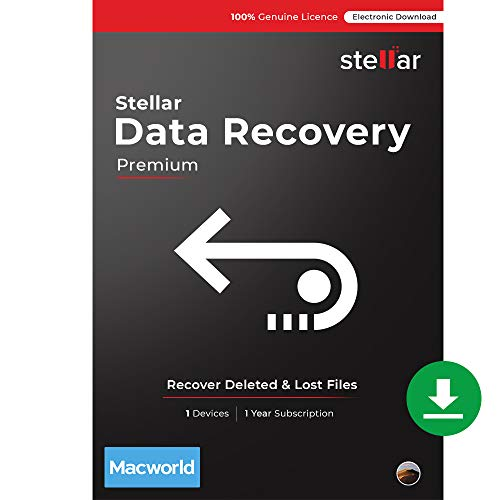 Stellar Data Recovery Software | for Mac | Premium | Recover & Repair Deleted/ Corrupted Data,Videos & Photos | 1 Device, 1 Yr Subscription | Instant Download (Email Delivery)