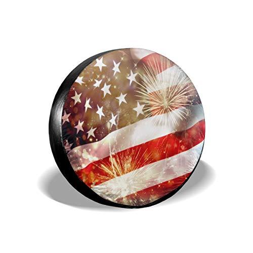 Cubierta de neumático de repuesto con la bandera de Estados Unidos, impermeable, a prueba de polvo, UV, cubierta de rueda para Jeep, remolque, RV, SUV y muchos vehículos de 15 pulgadas