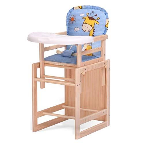 Holz Kombi-Hochstuhl Ab 6 Monaten,Kinderhochstuhl Mit Essbrett Wandelbar Zu Tisch & Stuhl,Sitz Gepolstert (Design : A)