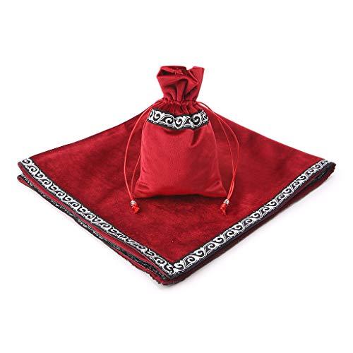 MM456 Tarot-Tischdecke aus Samt, Tarot-Tischdecke, Tarot-Tischdecke mit Kordelzug, 65 x 65 cm, Samt, rot, 65cm(25.59in) × 65cm(25.59in)