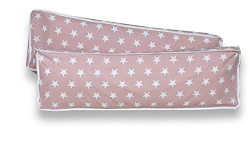 Rückenkissen-Set für Kinderzimmer mit Farbauswahl, Kissenfarbe:Sterne Rosa Weiss