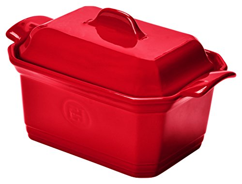 Emile Henry Eh349706 Terrine à Foie Gras 0,6 Litres Avec Presse Céramique Rouge Rouge Grand Cru Rouge Grand Cru 19 X 12 X 10 cm