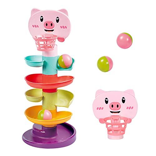 YGJT Juguete de Niños 1-3 años, Clasificador de Forma de Torre de 5 Capas para Bebés, Juguetes Educativos para Rampa de Bola Apilable, Go Ball Ramp Set de Regalo para Cumpleaños(Cerdo Pequeña)