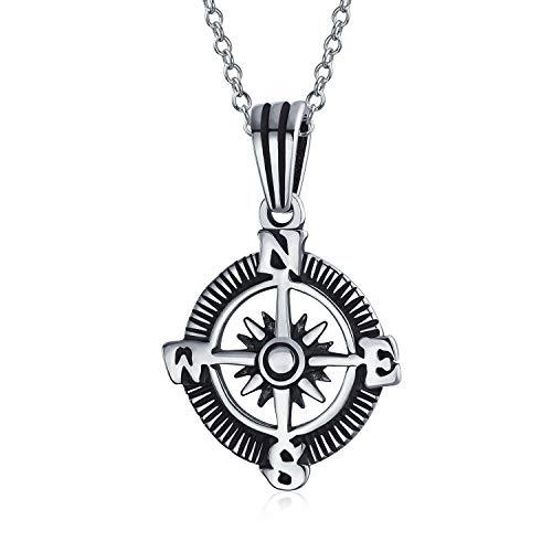Explorer Reise Viking Disc Medaillon Rose Kompass Anhänger Halskette für Männer für Frauen oxidiert 925 Sterling Silber