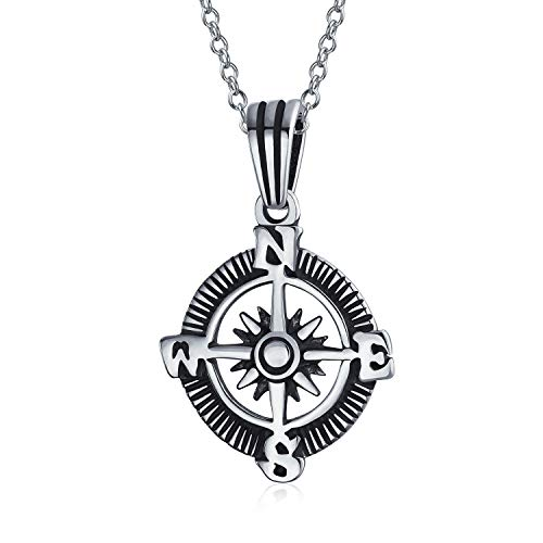 Explorer Travel Viking Disc Medallion Rose Compass Pendant Necklace For Men For Women Oxidized 925 Sterling Silver