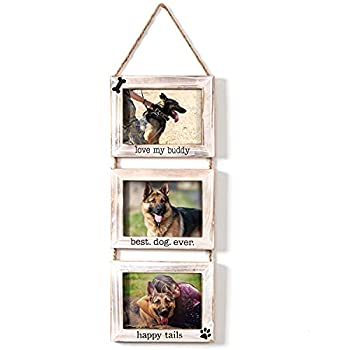 Dogs Wall Hanging Picture Frame Collage Dogs Collage 3 Photo Frame Picture Gallery with String Husky Dog Shepherd Dog or Pet Picture Frames Memorial Display Frame on Ropes Gifts for Wall for Home and Office