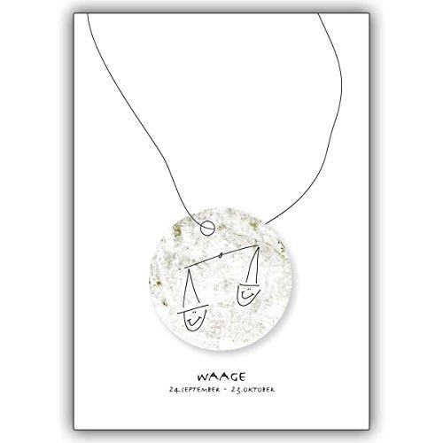 Wenskaarten met hoeveelheidskorting: Horoscoop felicitatiekaart voor iedereen die in het sterrenbeeld van de weegschaal geboren zijn • edele vouwkaart met envelop binnen blanco 10 Grußkarten