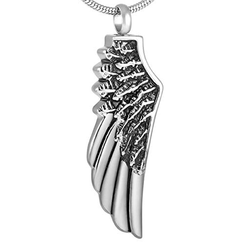 LLSJF Cremación Recuerdo Collar Colgante De Recuerdo De Collar De Cenizas De Acero Inoxidable con Plumas De Un Solo ala