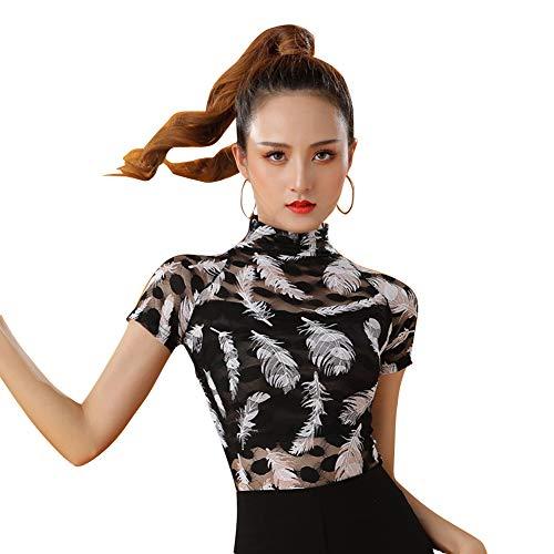 LNIGHT 社交ダンス トップス ハイネック 羽模様 シースルー フラダンス tシャツ レディース ベリーダンス衣装 ラテンダンス 練習着 ダンスウェア ブラウス(花柄,2XL)