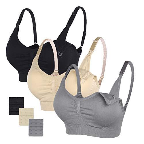 Stelle Body Silk Seamless Maternity Nursing Bra with Pads, Extenders & Clips (Black+Gray+Nude, L)