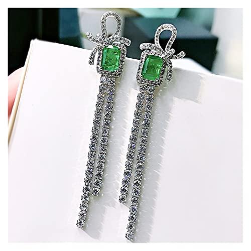 Pendientes Silver Bow Tassel Retro Emeralda Tassel Pendientes Largos for Mujeres Boda Compromiso Regalo Joyería