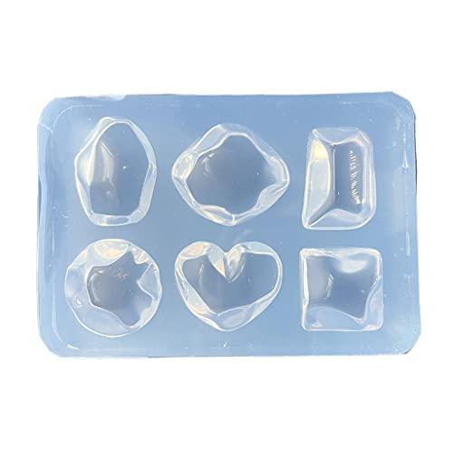 GASSDINER DIY Cristal epoxi Molde Pendientes Colgante joyería Molde Colgante decoración Forma de corazón Molde de Silicona Irregular
