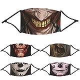 Halloween Mundschutz Waschbar mit Motiv Lustige Joker Kürbis Pumpkin Bandana 3D Ugly Multifunktionstuch Herren Damen Mund und Nasenschutz Bunt Wiederverwendbar Staubdicht Motorrad Halstuch (5PCS-2)
