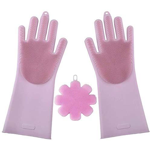 MiniGreen Silikon Handschuhe Scrubber Umweltfreundlich Wiederverwendbare Hitzebeständig Küche Geschirrspül Handschuhe Mehrzweck-Küche, Badezimmer, Waschen, Auto + Silikonschwamm - Pink