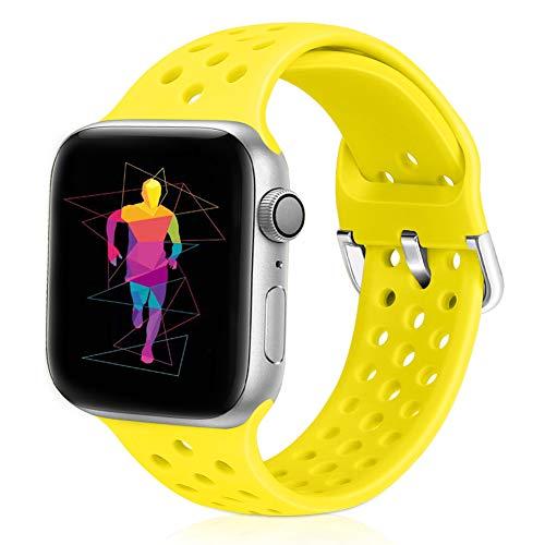 Runostrich Kompatibel mit Apple Watch Armband 38mm 40mm, Soft Silicone Sport Atmungsaktives Ersatzarmband Kompatibel für iWatch Serie 5/4/3/2/1, Sport für Frauen Männer (42mm/44mm, Blitz)