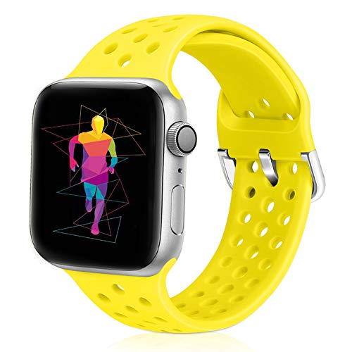 Runostrich Sport Band Compatible with Apple Watch Band 40mm 38mm, Soft Silicone Replacement Breathable Strap Compatible iWatch SE Series 6 5 4 3 2 1 for Women Men (Flash, 38mm/40mm)