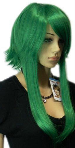 Qiyun Court Longue Raide Bright Vert Cosplay Synthetique Cheveux Complete Perruque